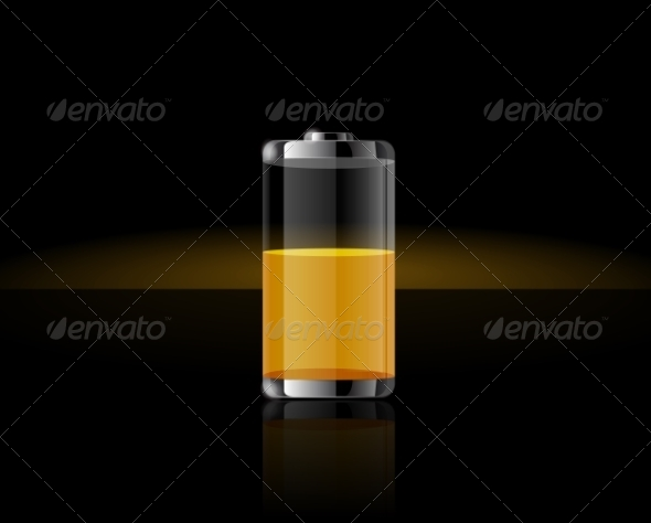 GraphicRiver Glossy Transparent Yellow Battery 8511552