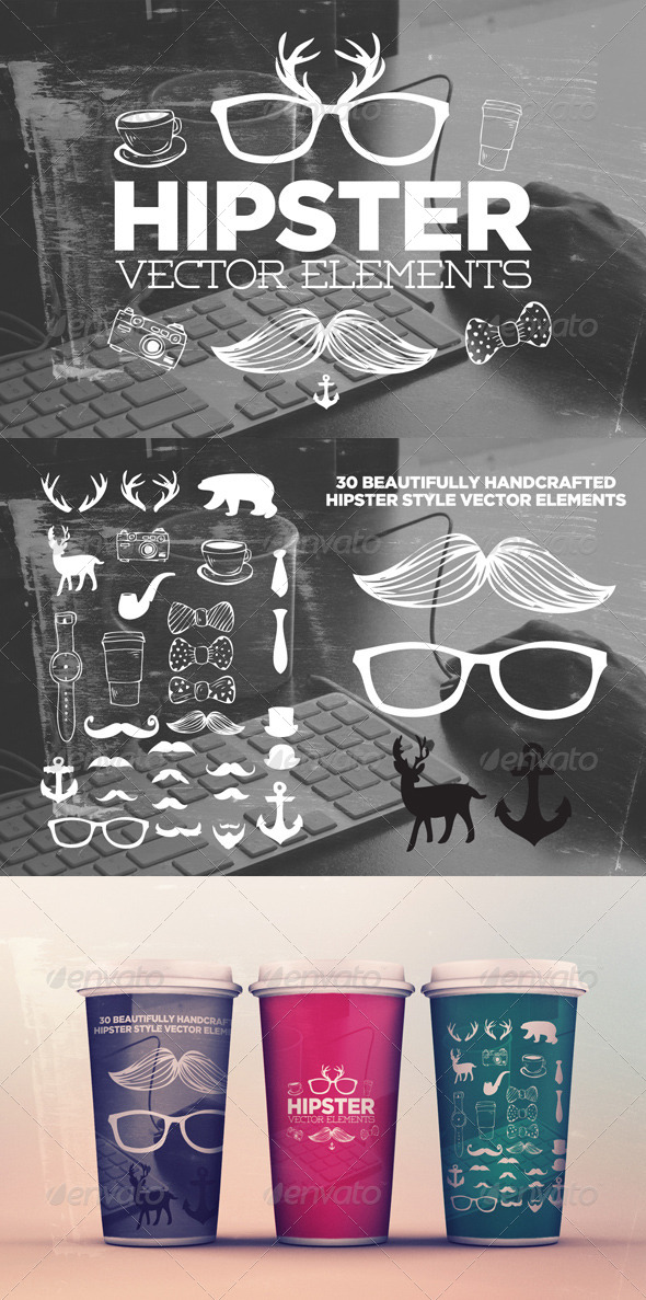 GraphicRiver 30 Hipster Elements 8511731