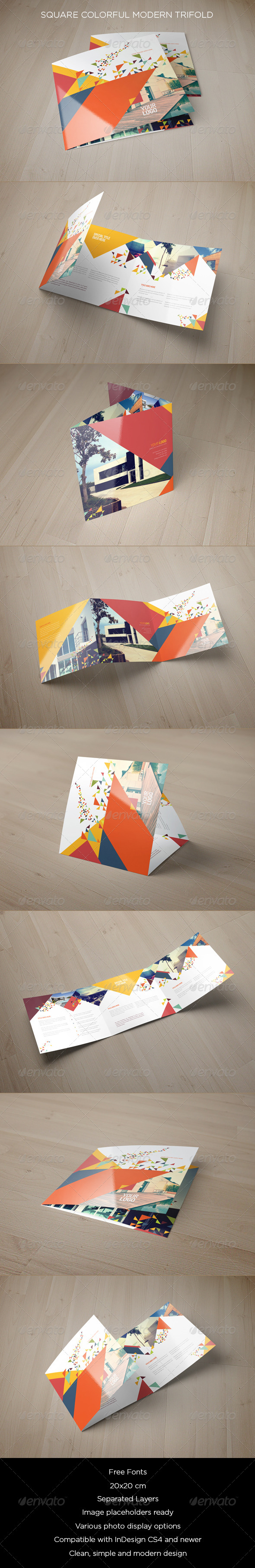GraphicRiver Square Colorful Modern Trifold 8511778