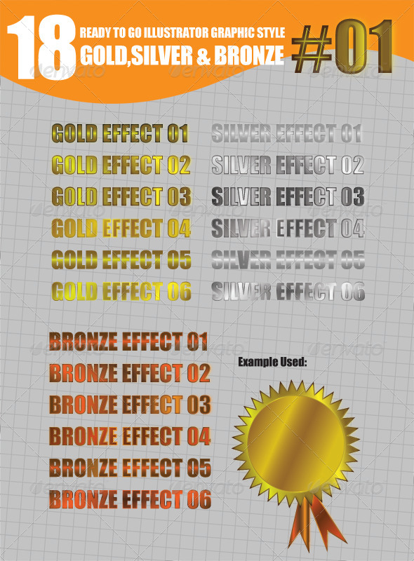 GraphicRiver 18 Gold Silver and Bronze Graphic Style #01 8511925