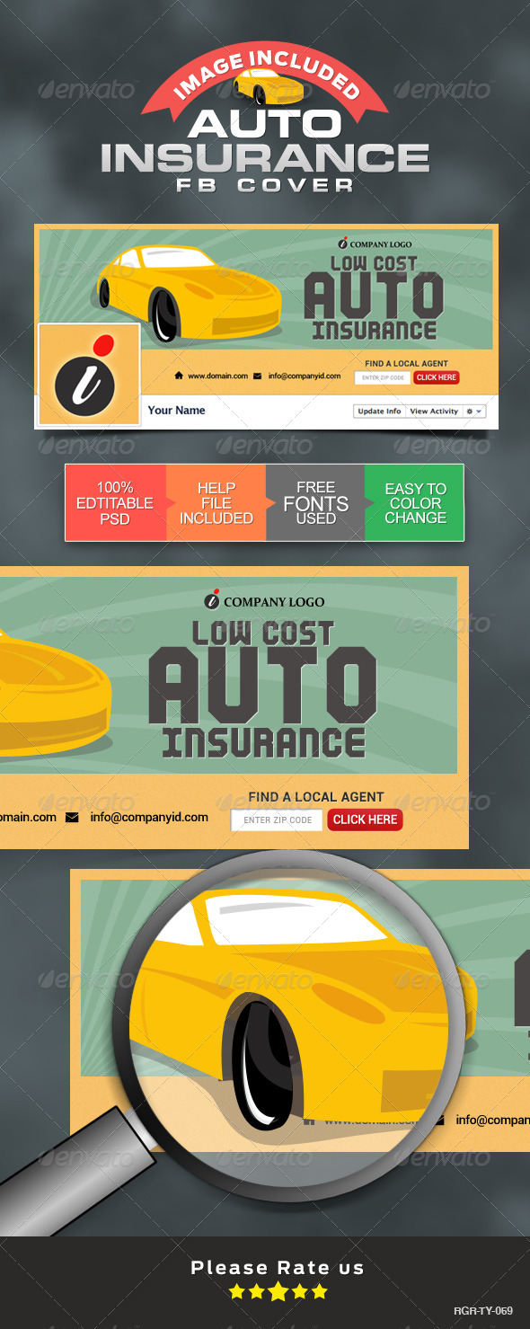 GraphicRiver Facebook Covers for Auto Insurance 8512015