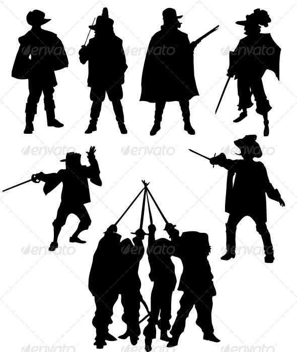 GraphicRiver Musketeer Silhouettes 8512017