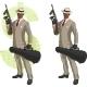 Cartoon Afroamerican Mafioso with Tommy-Gun