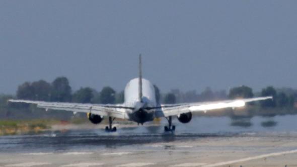 Commercial Jet Plane Landing in Barcelona Airport