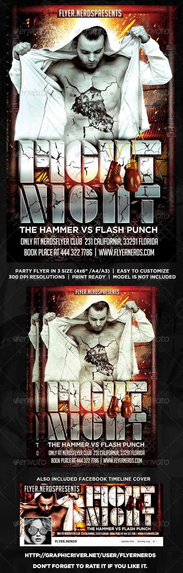GraphicRiver Fight Night Flyer 8513459