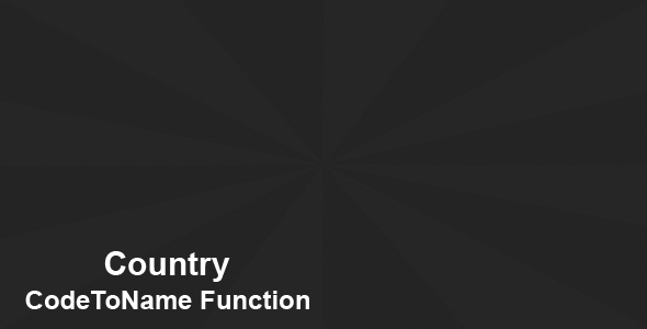 CodeCanyon Country CodeToName Function 8513497