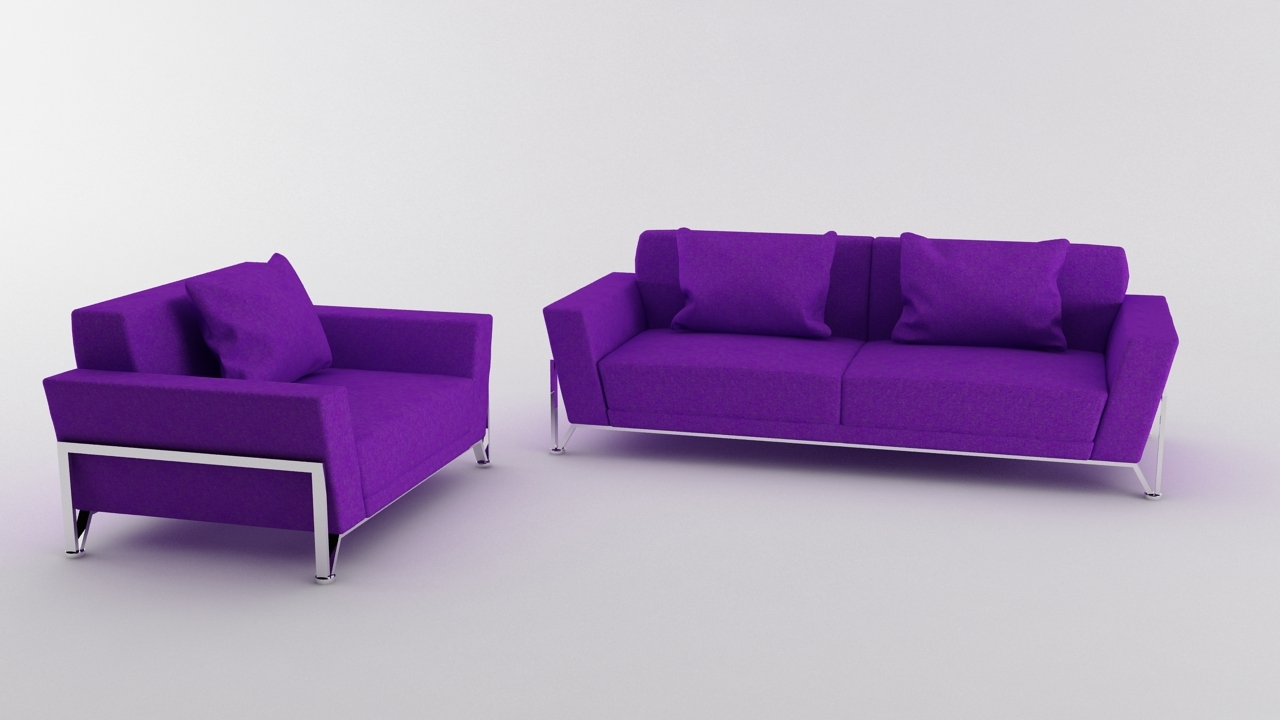 Vogue 3 pc purple microfiber sofa set by afr artist 3docean for Purple couch set