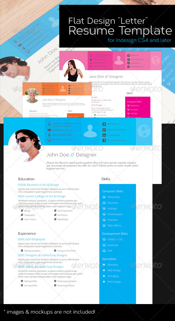 GraphicRiver Flat Design Letter Resume Template 8513528