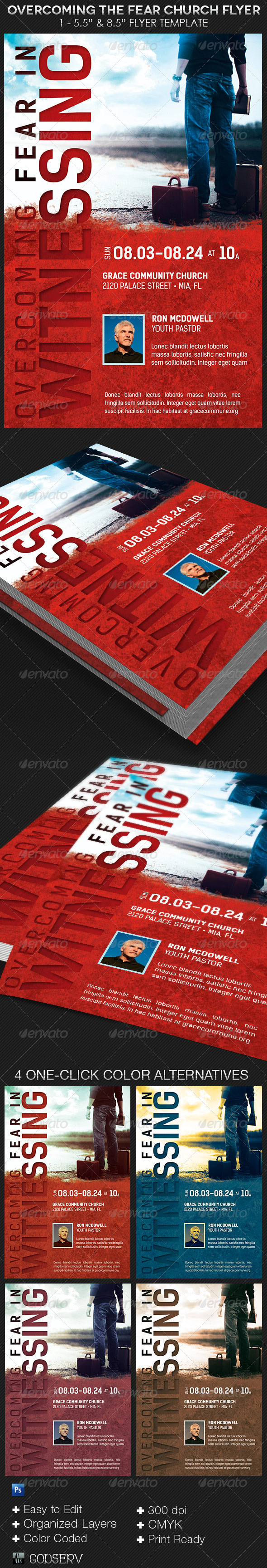 GraphicRiver Overcoming The Fear Church Flyer Template 8513579