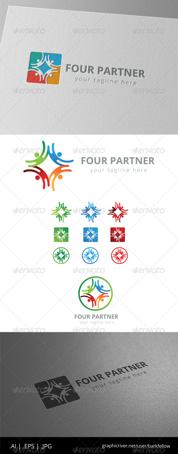 GraphicRiver Four Square Community Group Logo 8513599