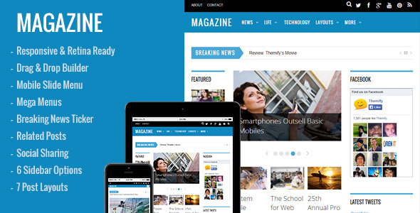 ThemeForest Magazine Responsive 3-Column WordPress Theme 8513605
