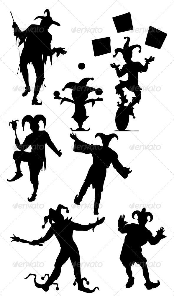 GraphicRiver Jester Silhouettes 8513858