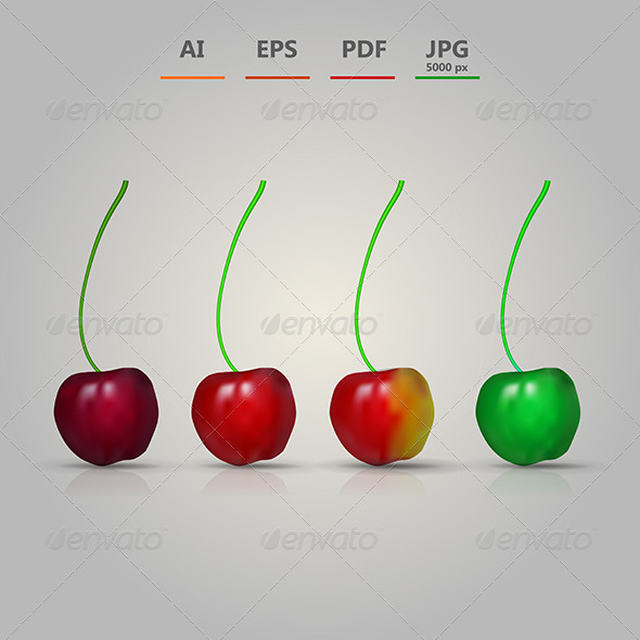 GraphicRiver Illustration of Four Cherries 8514492