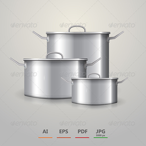 GraphicRiver Vector Illustration of Three Aluminum Saucepans 8514511