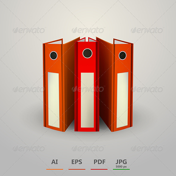 GraphicRiver Vector Illustration of Red Folders 8514582