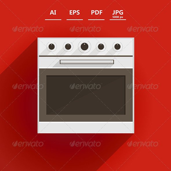 GraphicRiver Flat Vector Illustration of Oven 8514591