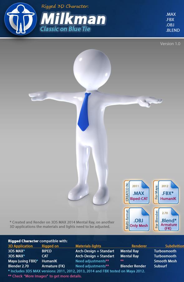 3DOcean Milkman Classic on Blue Tie 8514693
