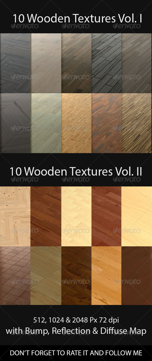 3DOcean 10 Wooden Floor Tileable Texture Vol I & Vol II 8514761