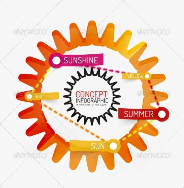 GraphicRiver Summer Sun Line Style Infographic Concept 8514798