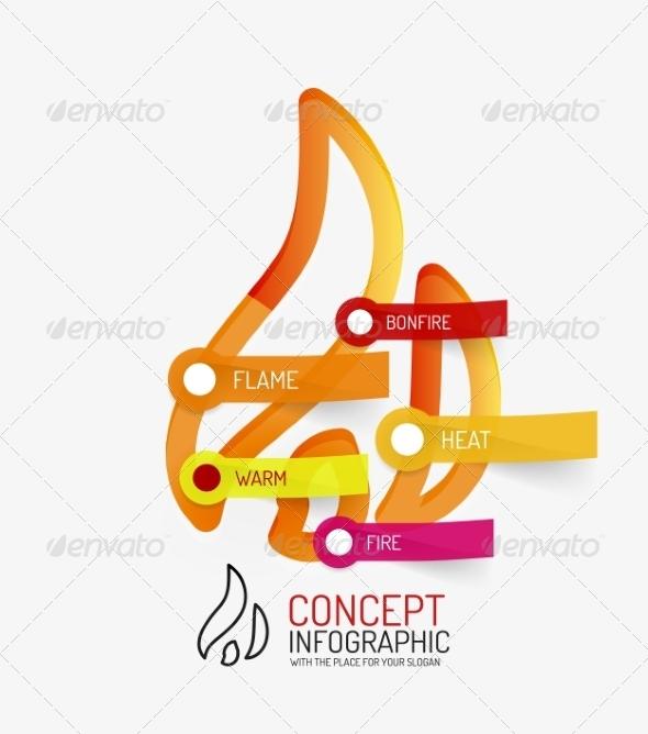 GraphicRiver Hot Bonfire Line Style Infographic Concept 8514801