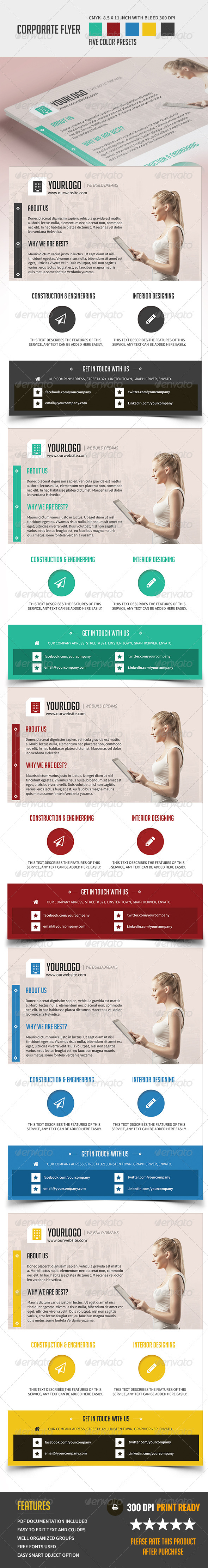 GraphicRiver Clean Corporate Business Flyer in Five Colors 8510521