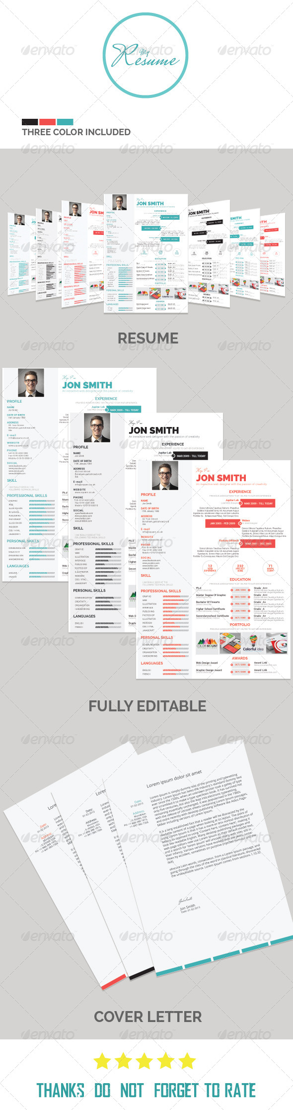 GraphicRiver One Page Resume 8510277