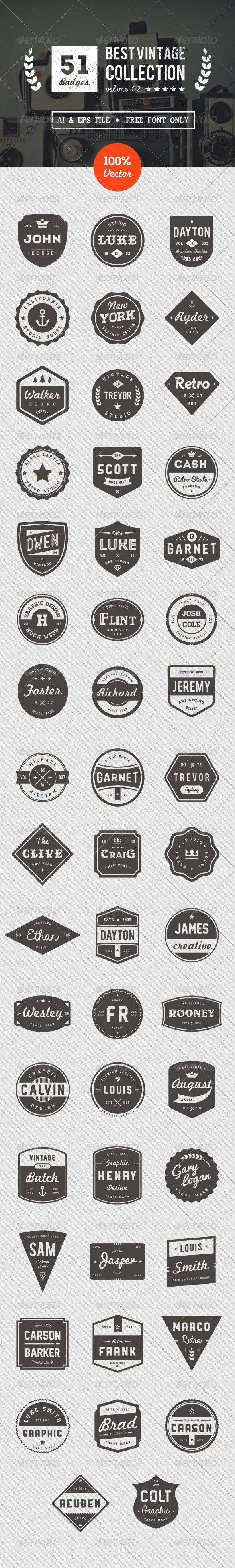 GraphicRiver 50 Retro Badges 8514928