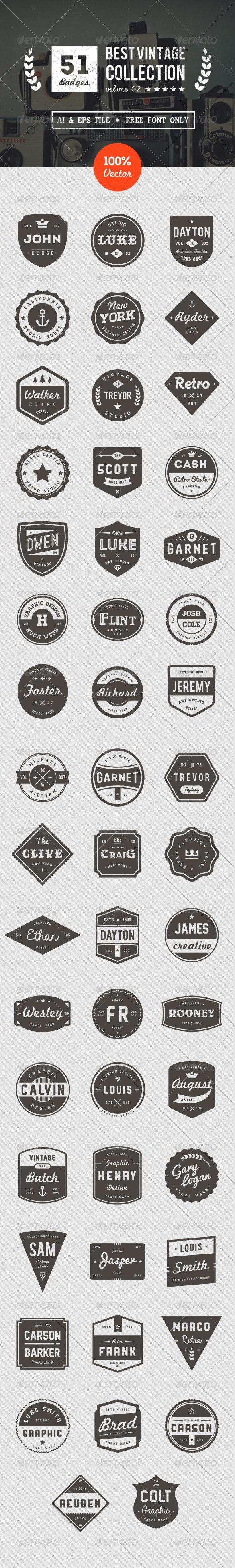 GraphicRiver 50 Retro Badges 8514928