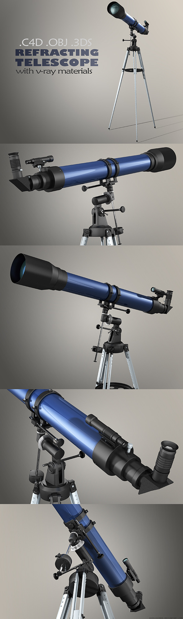 3DOcean Refractor Telescope with Vray Materials 8514952