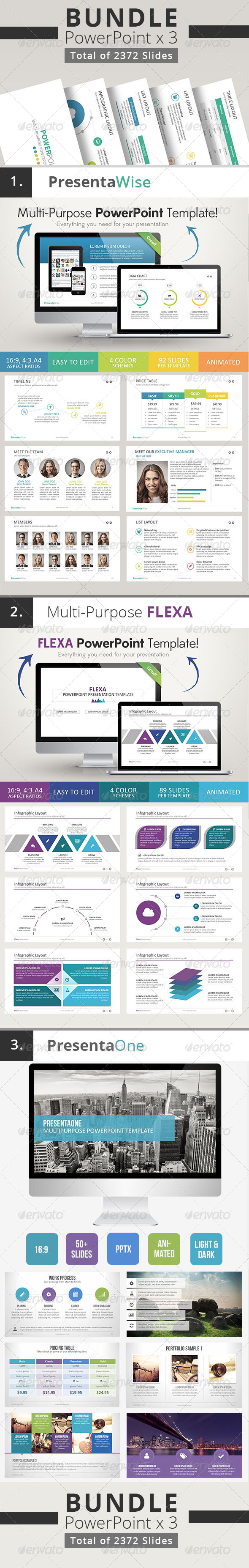 GraphicRiver 3 x Multi-Purpose Powerpoint Bundle 8512307