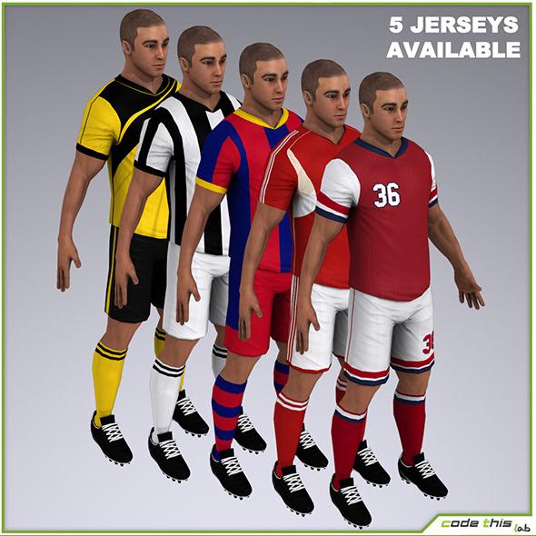3DOcean White Soccer Player 9615tris 8515646
