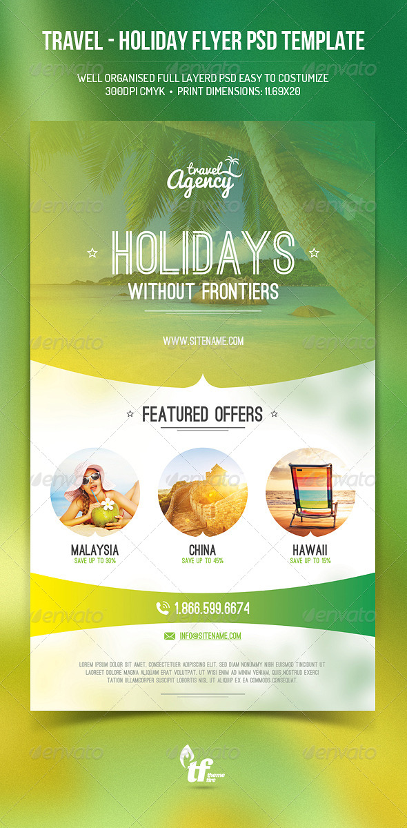 GraphicRiver Travel Holiday Flyer PSD Template 8515719