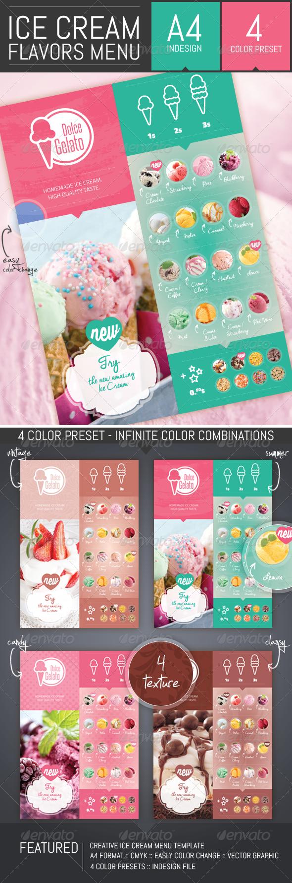 GraphicRiver Ice Cream Flavor Menu Template 8515743