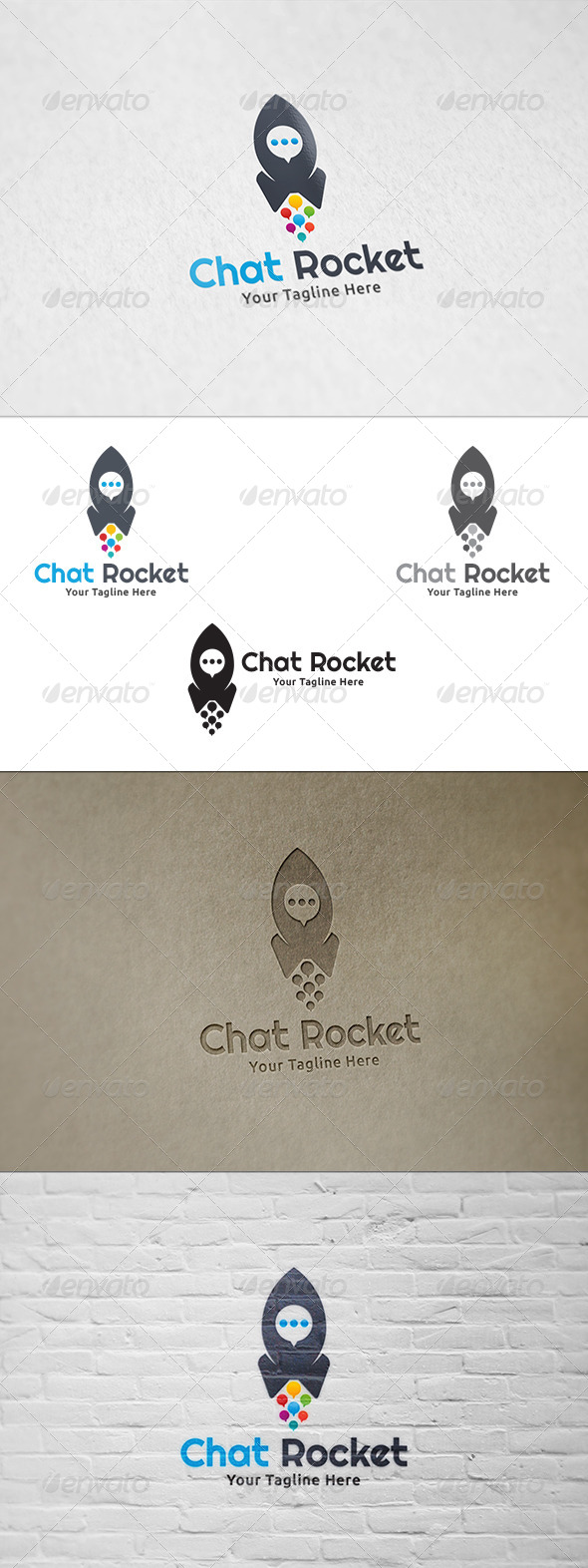GraphicRiver Chat Rocket Logo Template 8515870
