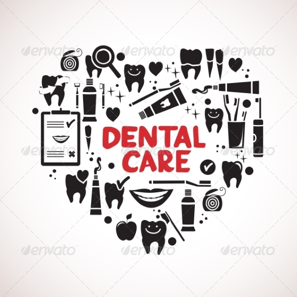 GraphicRiver Dental Care Symbols in the Shape of Heart 8516074