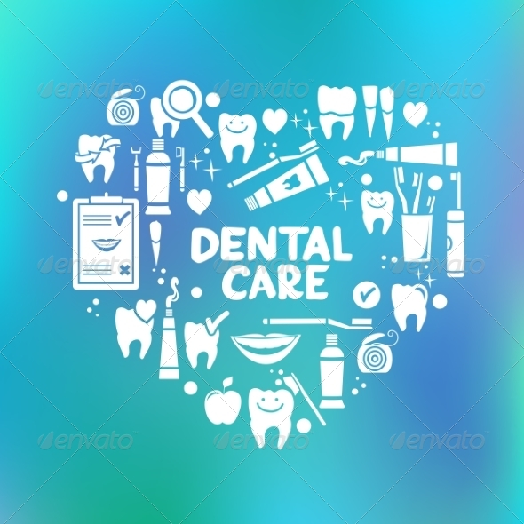 GraphicRiver Dental Care Symbols in the Shape of Heart 8516096