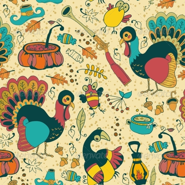 GraphicRiver Seamless Texture with the Thanksgiving Day Icons 8516154