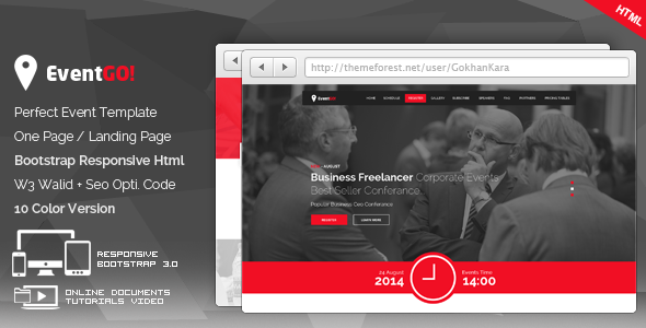 ThemeForest EventGo Html Onepage Events Landing Page 8391413