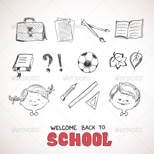 GraphicRiver School Objects Sketch Style 8516268