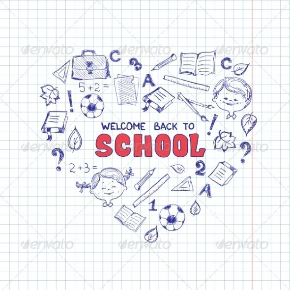 GraphicRiver School Objects in the Shape of Heart 8516274