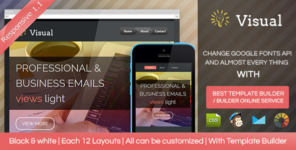 Visual - Responsive Email Template + Builder - Email Templates Marketing