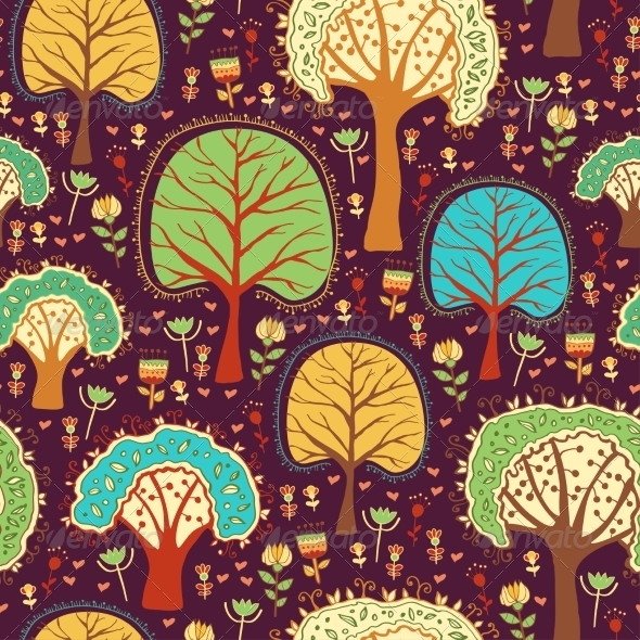 GraphicRiver Forest Wallpaper with Cartoon Trees 8516412