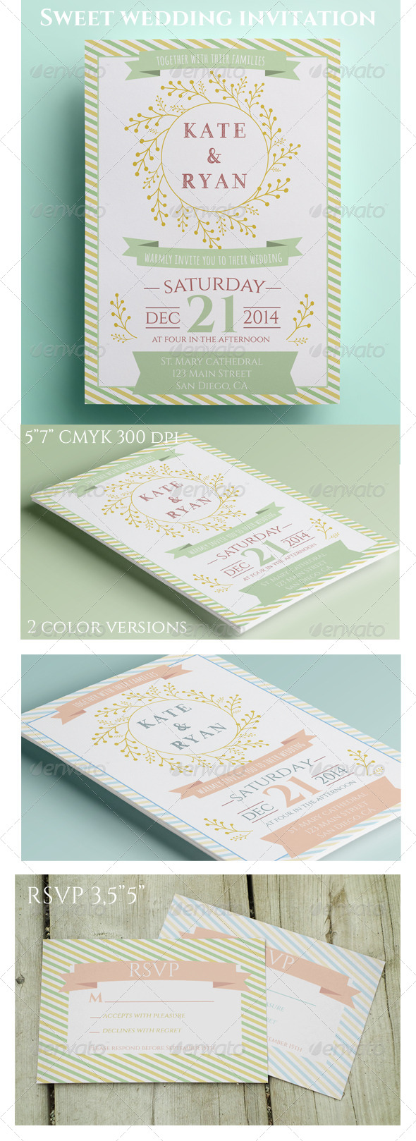 GraphicRiver Sweet Wedding Invitation and RSVP 8516521