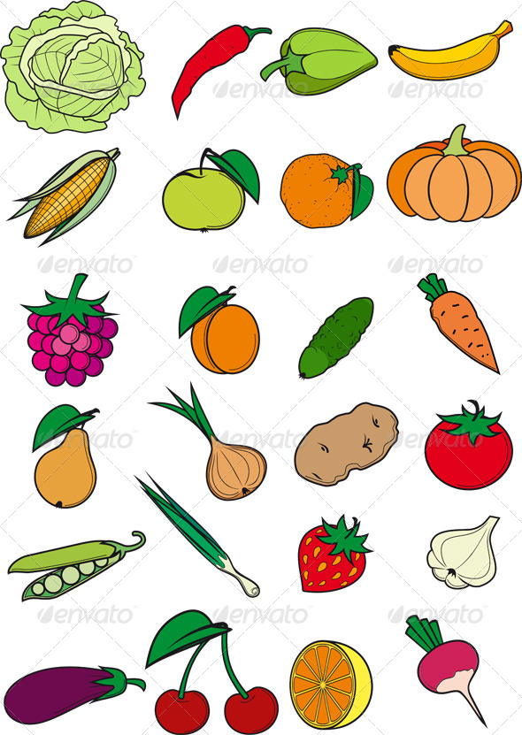 GraphicRiver Set of Fruits and Vegetables 8516564