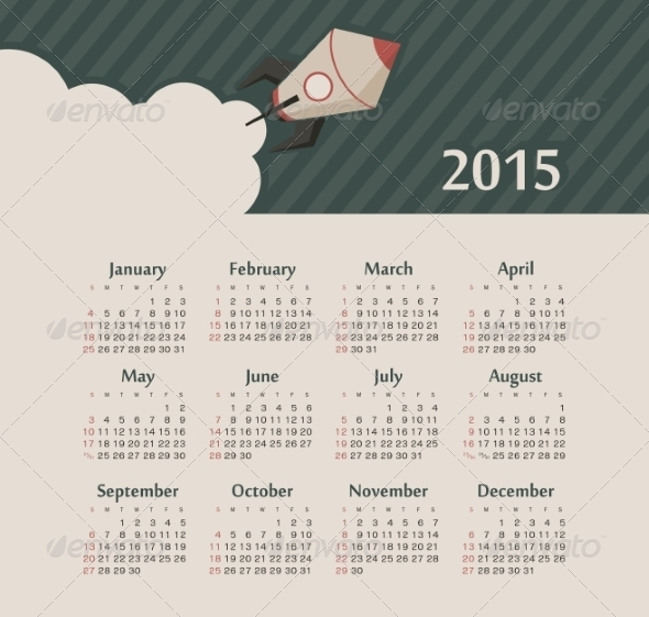 GraphicRiver Calendar 2015 Year with Rocket 8516597