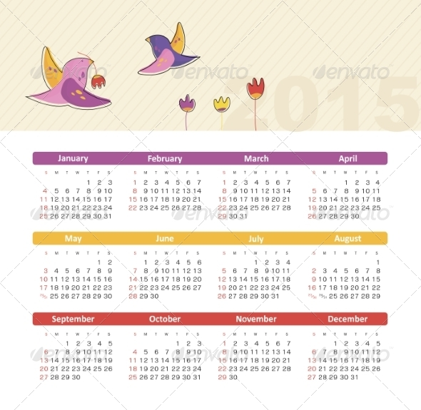 GraphicRiver Calendar 2015 Year with Birds 8516607