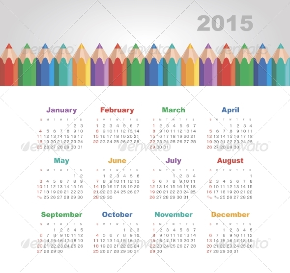 GraphicRiver Calendar 2015 Year with Colored Pencils 8516648