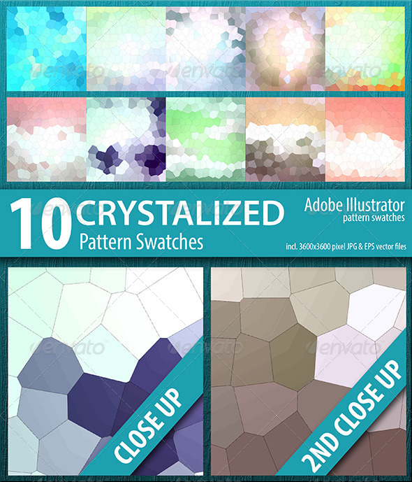 GraphicRiver 10 Crystalized Mosaic Tile Pattern Swatches Vector 8512598