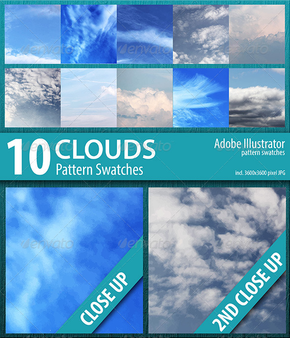 GraphicRiver 10 Clouds Sky Pattern Swatches Vector 8512724