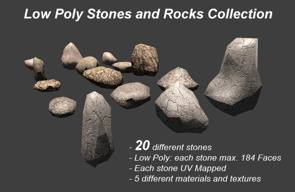 3DOcean Low Poly Stones and Rocks Collection 8516795